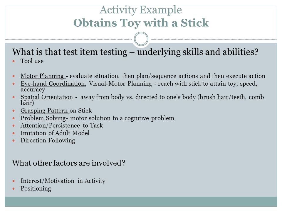 Activity Example Obtains Toy with a Stick What is that test item testing – underlying skills and abilities.