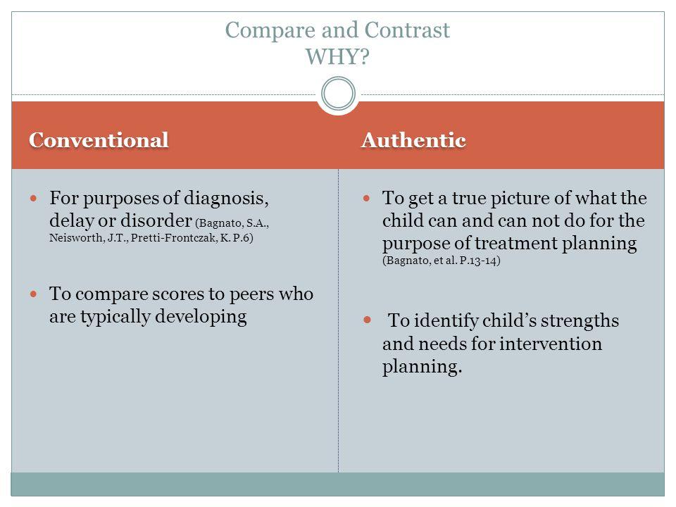 Conventional Authentic For purposes of diagnosis, delay or disorder (Bagnato, S.A., Neisworth, J.T., Pretti-Frontczak, K.