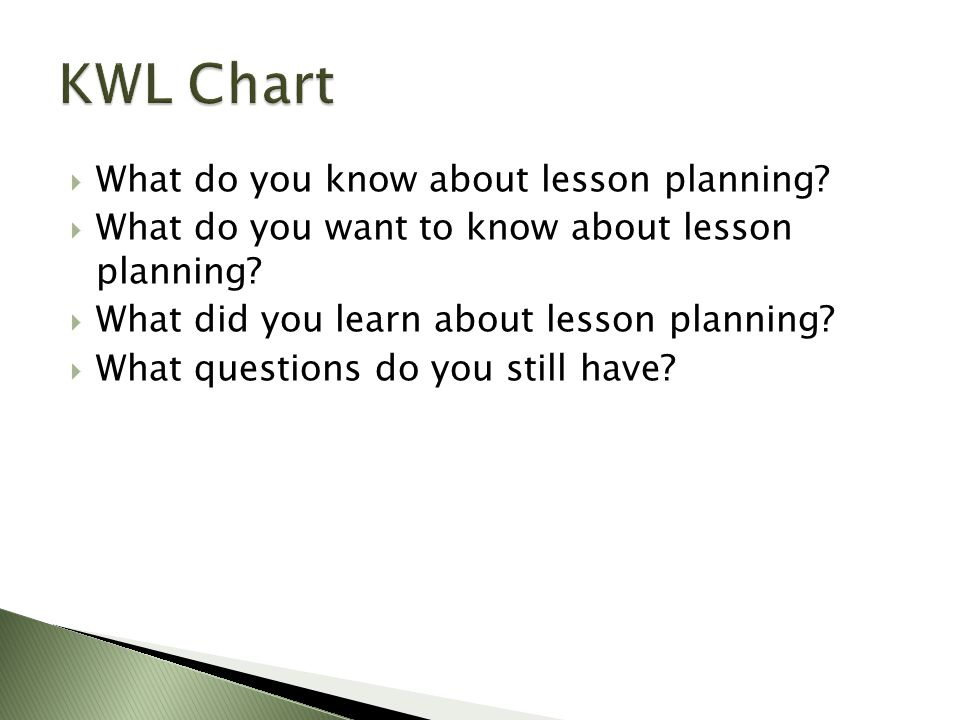  What do you know about lesson planning.  What do you want to know about lesson planning.