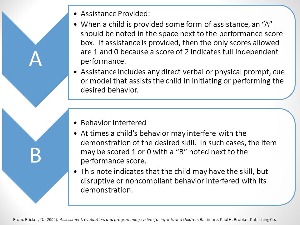 From: Bricker, D. (2002). Assessment, evaluation, and programming system for infants and children.