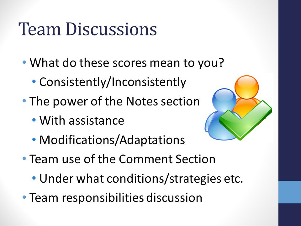 Team Discussions What do these scores mean to you.