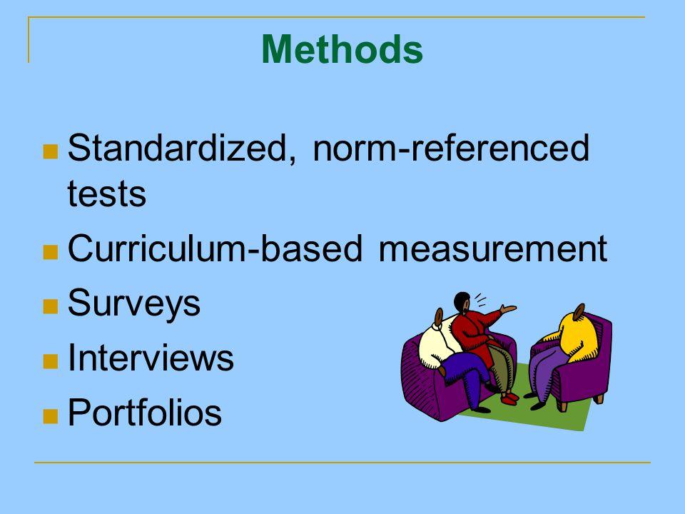Methods Standardized, norm-referenced tests Curriculum-based measurement Surveys Interviews Portfolios