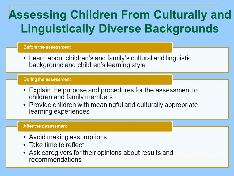 Assessing Children From Culturally and Linguistically Diverse Backgrounds Learn about children's and family's cultural and linguistic background and children's learning style Before the assessment Explain the purpose and procedures for the assessment to children and family members Provide children with meaningful and culturally appropriate learning experiences During the assessment Avoid making assumptions Take time to reflect Ask caregivers for their opinions about results and recommendations After the assessment
