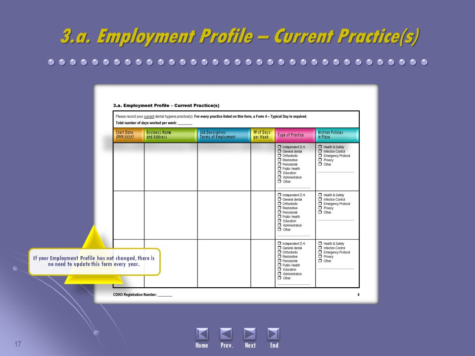 17 Home Prev. Next End 3.a. Employment Profile – Current Practice(s) Written Policies in Place Written Policies in Place Type of Practice # of Days pe