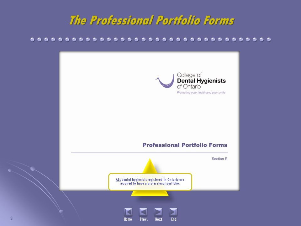 3 ALL dental hygienists registered in Ontario are required to have a professional portfolio.