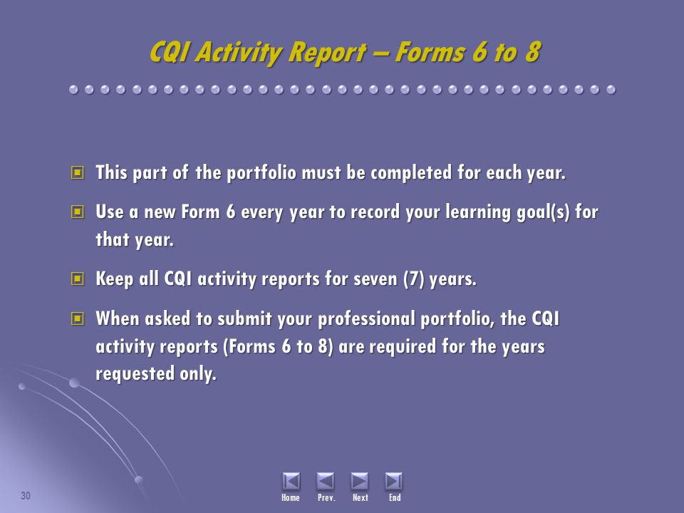 CQI Activity Report – Forms 6 to 8 This part of the portfolio must be completed for each year.