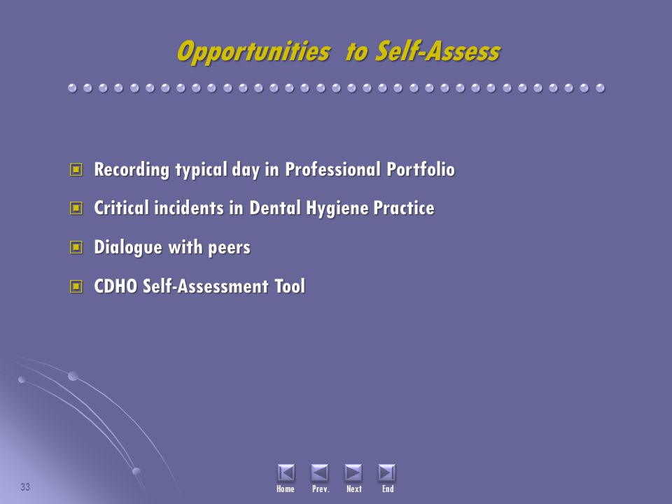 Opportunities to Self-Assess Recording typical day in Professional Portfolio Recording typical day in Professional Portfolio Critical incidents in Dental Hygiene Practice Critical incidents in Dental Hygiene Practice Dialogue with peers Dialogue with peers CDHO Self-Assessment Tool CDHO Self-Assessment Tool 33 Home Prev.