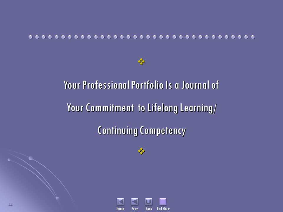 Home Prev. Back End Show 44  Your Professional Portfolio Is a Journal of Your Commitment to Lifelong Learning/ Continuing Competency 