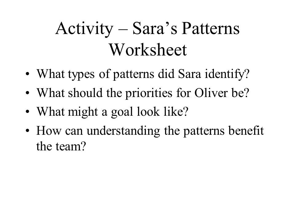 Activity – Sara's Patterns Worksheet What types of patterns did Sara identify.