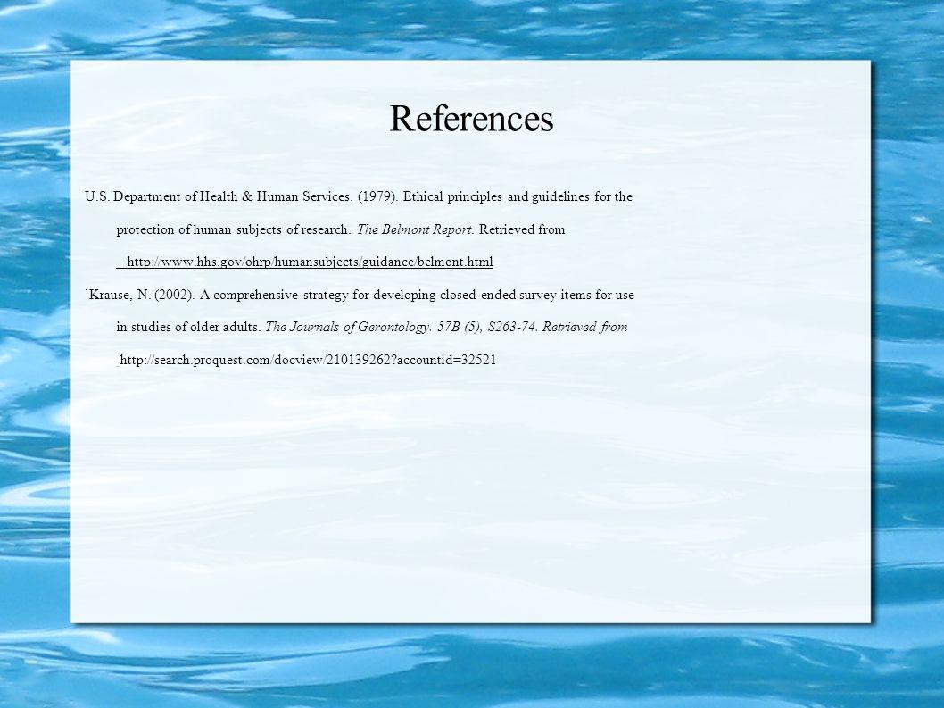 References Puma, M., Bell, S., Cook, R., Heid, C., Shapiro, G., Broene, P., & Westat, I. c. (2010). Head Start Impact Study. Final Report. Administrat