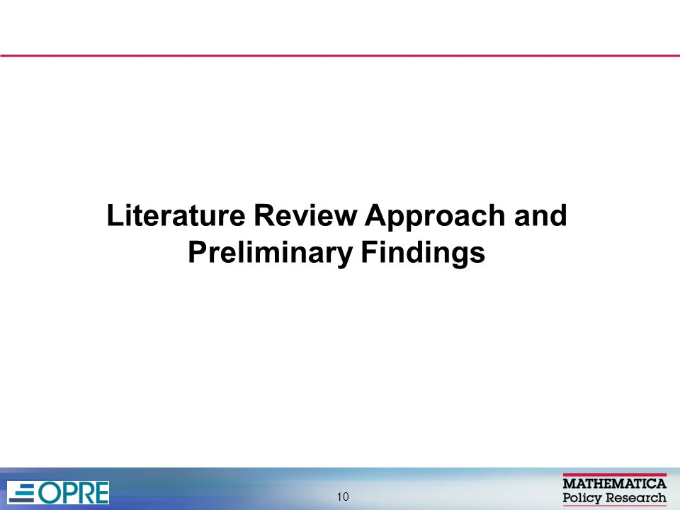 Literature Review Approach and Preliminary Findings 10