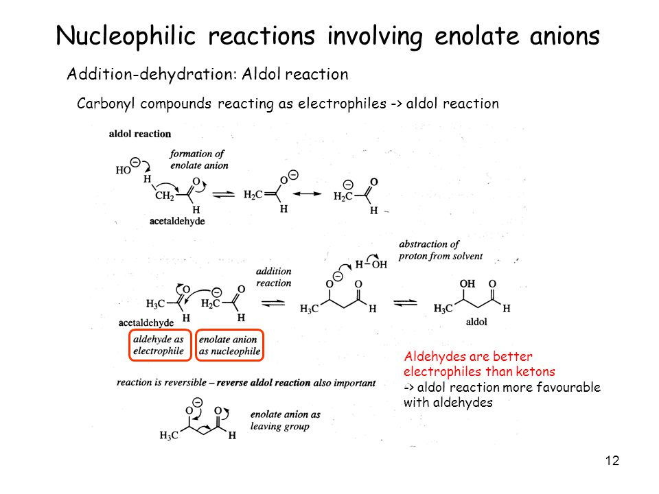 12 Nucleophilic reactions involving enolate anions Addition-dehydration: Aldol reaction Carbonyl compounds reacting as electrophiles -> aldol reaction Aldehydes are better electrophiles than ketons -> aldol reaction more favourable with aldehydes