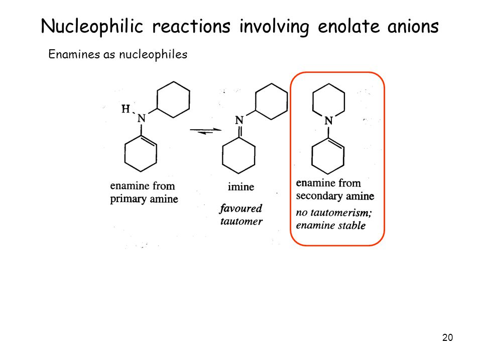 20 Nucleophilic reactions involving enolate anions Enamines as nucleophiles