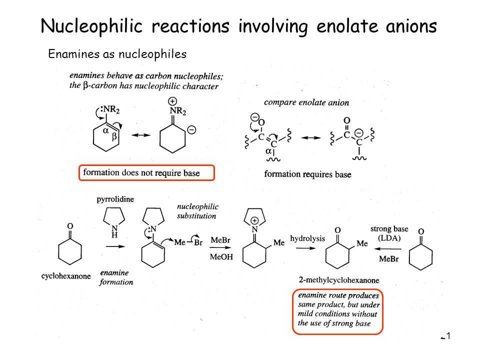 21 Nucleophilic reactions involving enolate anions Enamines as nucleophiles