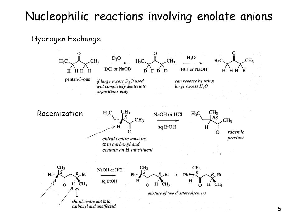 5 Nucleophilic reactions involving enolate anions Hydrogen Exchange Racemization