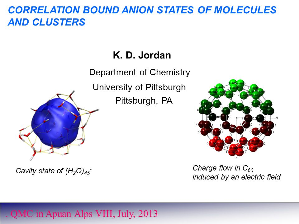 CORRELATION BOUND ANION STATES OF MOLECULES AND CLUSTERS K.