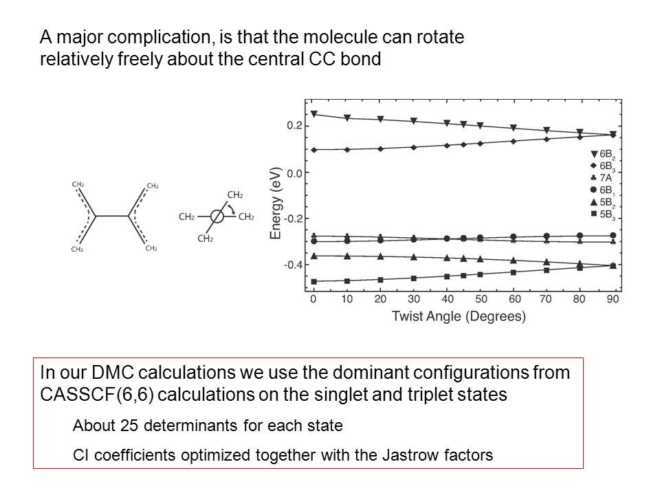 A major complication, is that the molecule can rotate relatively freely about the central CC bond In our DMC calculations we use the dominant configurations from CASSCF(6,6) calculations on the singlet and triplet states About 25 determinants for each state CI coefficients optimized together with the Jastrow factors