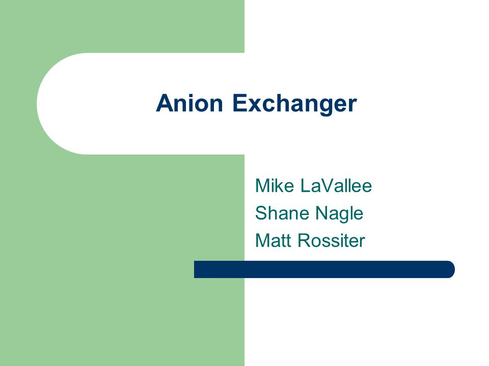 Anion Exchanger Mike LaVallee Shane Nagle Matt Rossiter