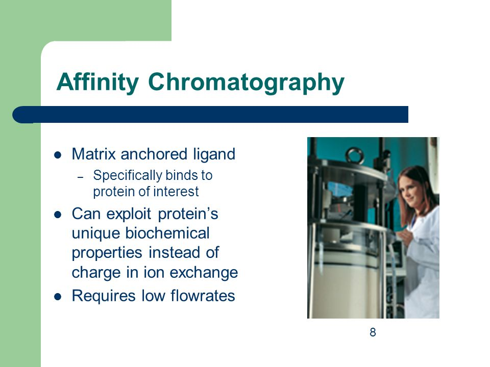 Affinity Chromatography Matrix anchored ligand – Specifically binds to protein of interest Can exploit protein's unique biochemical properties instead