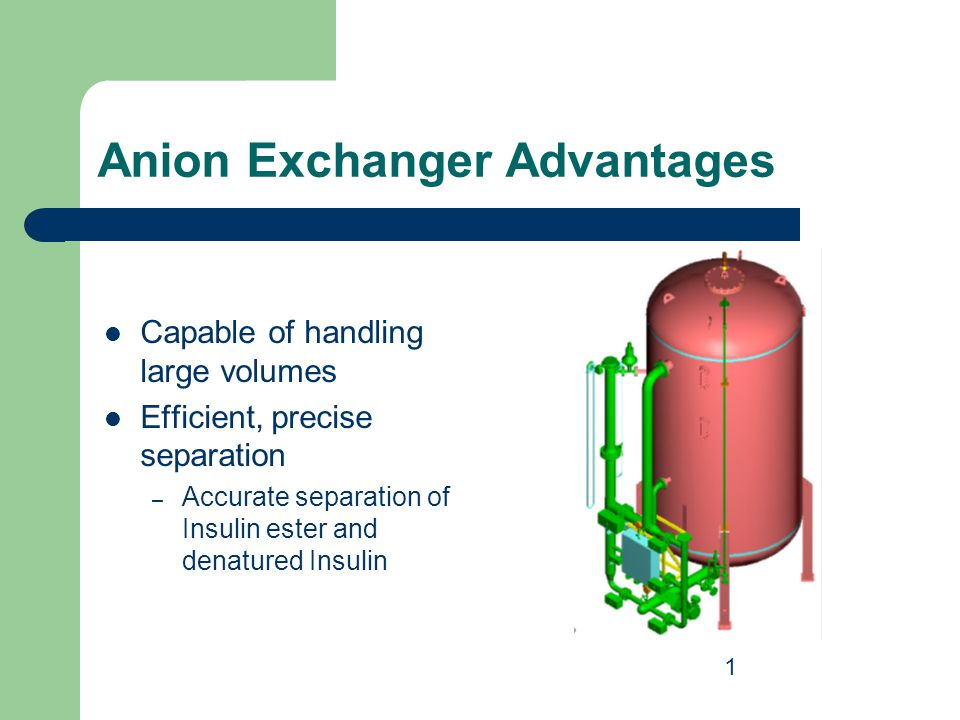 Anion Exchanger Advantages Capable of handling large volumes Efficient, precise separation – Accurate separation of Insulin ester and denatured Insuli