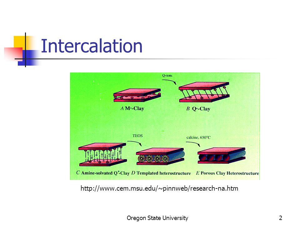 Oregon State University23 Other intercalated anions Anion MW d i / Å C(SO 2 CF 3 ) 3 411 12.3 SO 3 C 8 F 17 499 29.5 SO 3 C 10 F 21 599 33.7 SO 3 C 6 F 10 (C 2 F 5 ) 461 24.4