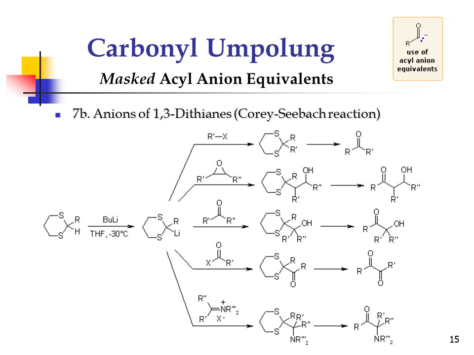 15 Carbonyl Umpolung Masked Acyl Anion Equivalents 7b. Anions of 1,3-Dithianes (Corey-Seebach reaction) 7b. Anions of 1,3-Dithianes (Corey-Seebach rea