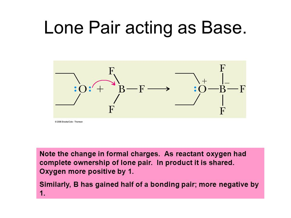 Lone Pair acting as Base.Note the change in formal charges.