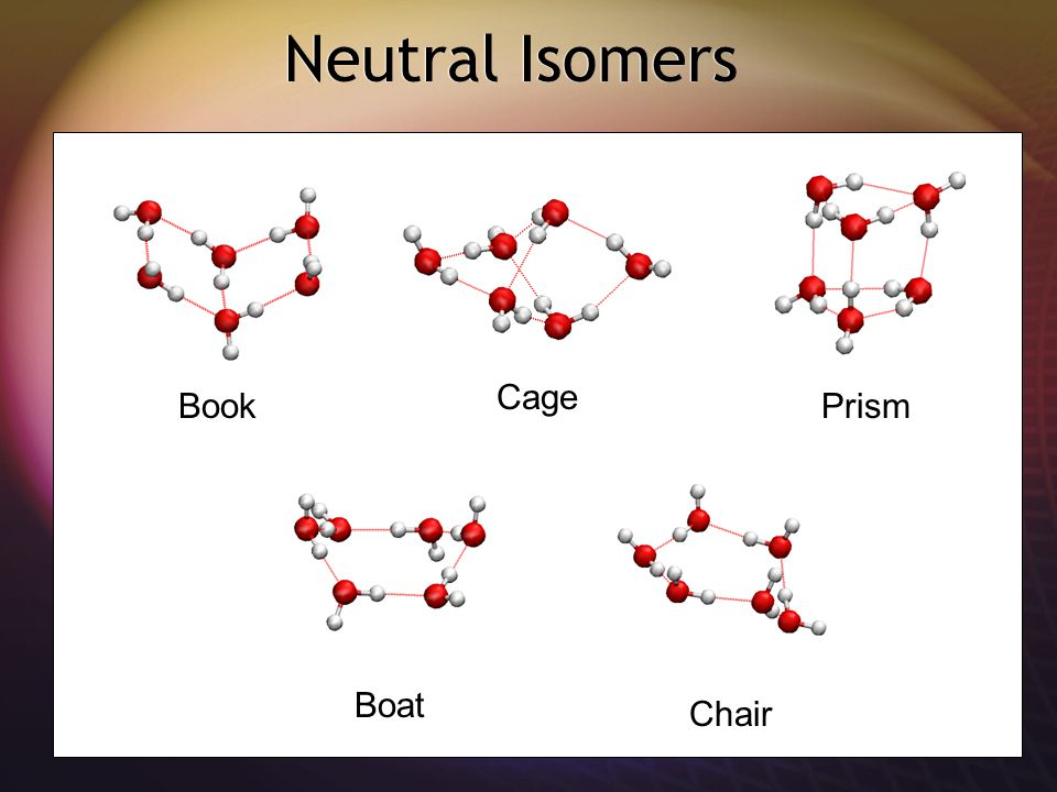 Neutral Isomers Book Cage Boat Prism Chair