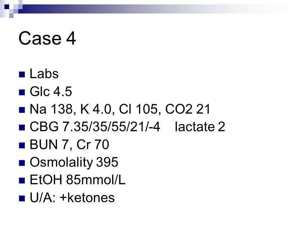 Case 4 Labs Glc 4.5 Na 138, K 4.0, Cl 105, CO2 21 CBG 7.35/35/55/21/-4 lactate 2 BUN 7, Cr 70 Osmolality 395 EtOH 85mmol/L U/A: +ketones