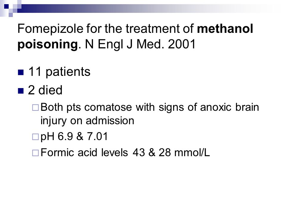 Fomepizole for the treatment of methanol poisoning.