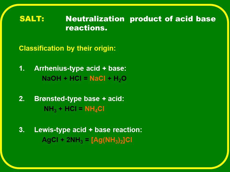 SALT:Neutralization product of acid base reactions. Classification by their origin: 1.Arrhenius-type acid + base: NaOH + HCl = NaCl + H 2 O 2.Brønsted