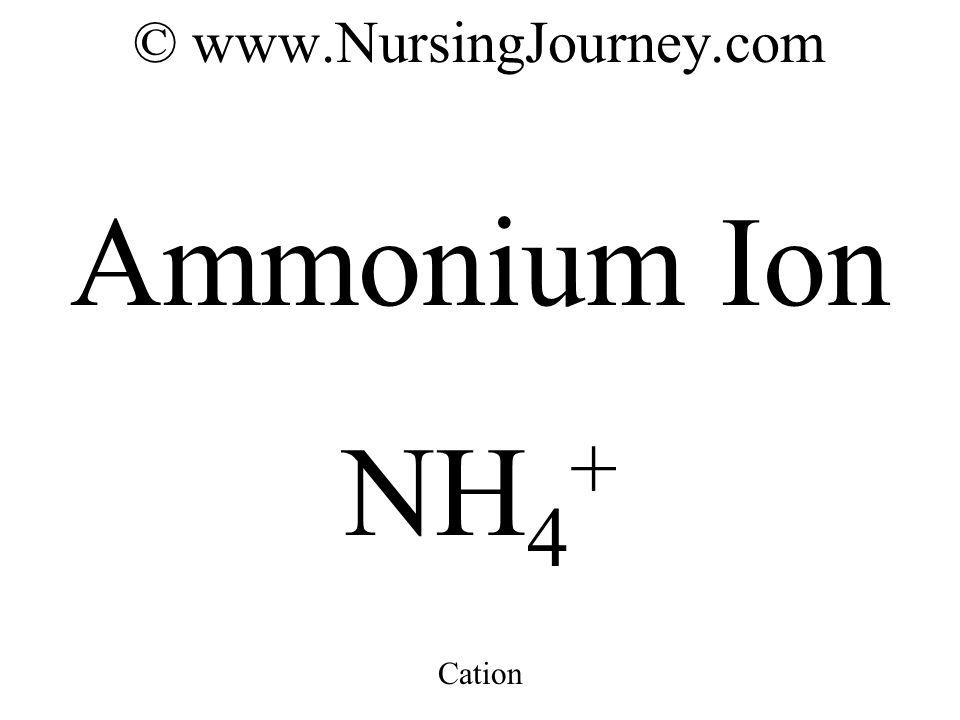 © www.NursingJourney.com Ammonium Ion NH 4 + Cation