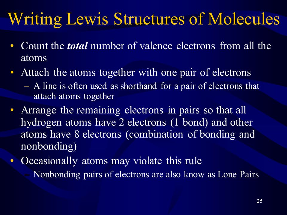 25 Writing Lewis Structures of Molecules Count the total number of valence electrons from all the atoms Attach the atoms together with one pair of electrons –A line is often used as shorthand for a pair of electrons that attach atoms together Arrange the remaining electrons in pairs so that all hydrogen atoms have 2 electrons (1 bond) and other atoms have 8 electrons (combination of bonding and nonbonding) Occasionally atoms may violate this rule –Nonbonding pairs of electrons are also know as Lone Pairs