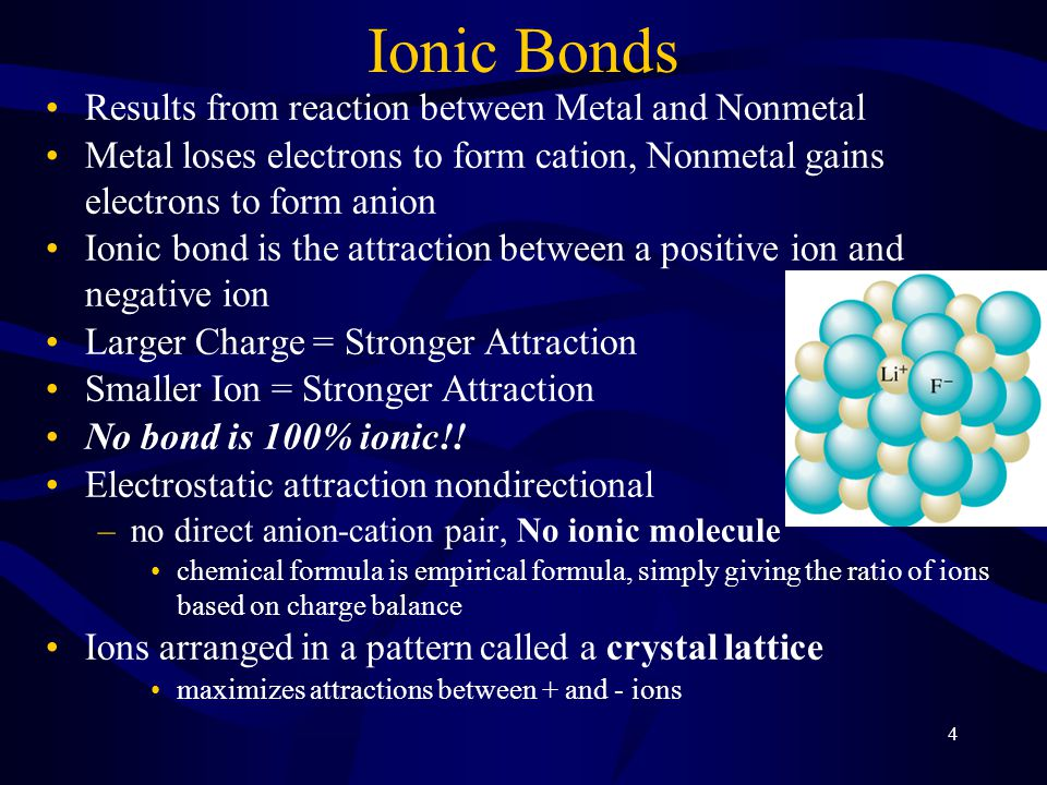 4 Ionic Bonds Results from reaction between Metal and Nonmetal Metal loses electrons to form cation, Nonmetal gains electrons to form anion Ionic bond is the attraction between a positive ion and negative ion Larger Charge = Stronger Attraction Smaller Ion = Stronger Attraction No bond is 100% ionic!.