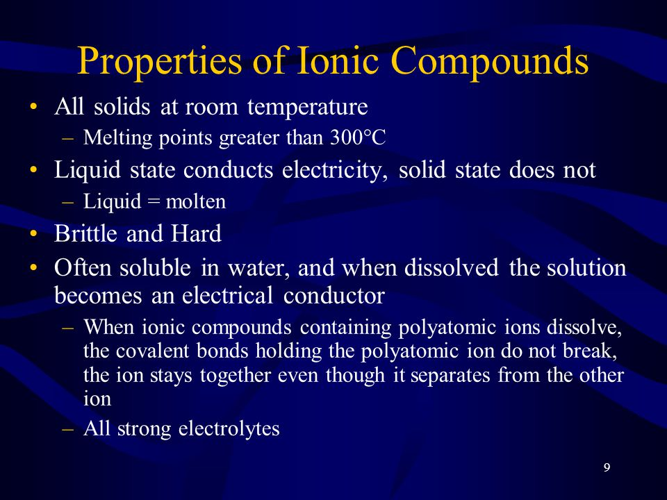 10 Bonding and Structure of Ionic Compounds Crystal Lattice = geometric pattern determined by the size and charge of the ions Anions larger than cation –Almost always –Anions larger than parent atom, Cations smaller than parent atom Anions generally considered hard spheres packed as efficiently as possible, with the cations occupying the holes in the packing Arrangement results in each cation being surrounded by as many anions as will fit –And visa versa –Maximizes attractions between ions