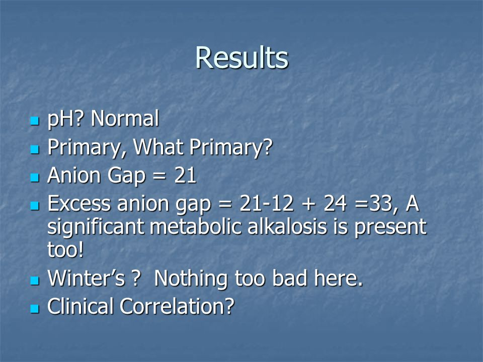 Results pH. Normal pH. Normal Primary, What Primary.