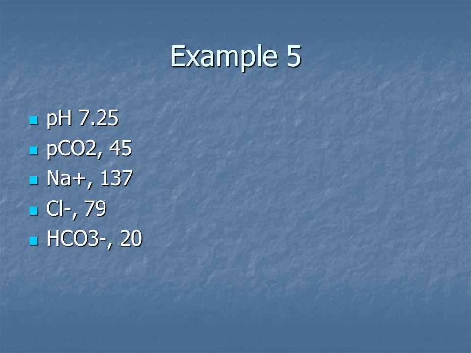 Example 5 pH 7.25 pH 7.25 pCO2, 45 pCO2, 45 Na+, 137 Na+, 137 Cl-, 79 Cl-, 79 HCO3-, 20 HCO3-, 20