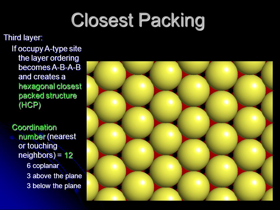 Closest Packing Third layer: If occupy A-type site the layer ordering becomes A-B-A-B and creates a hexagonal closest packed structure (HCP) Coordinat