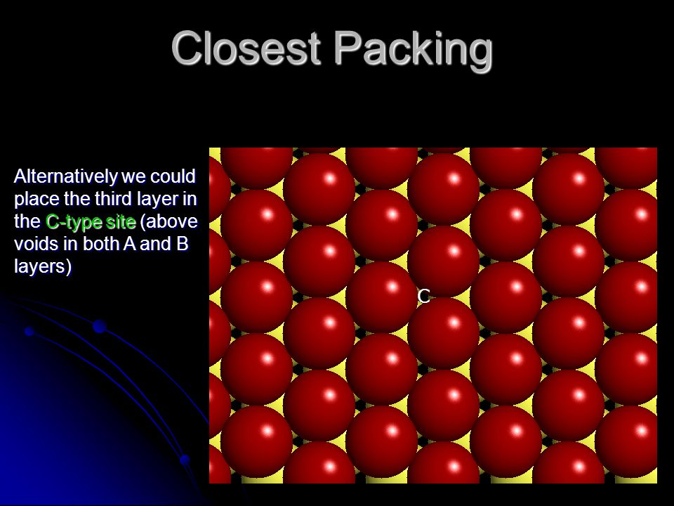 Closest Packing Alternatively we could place the third layer in the C-type site (above voids in both A and B layers) C
