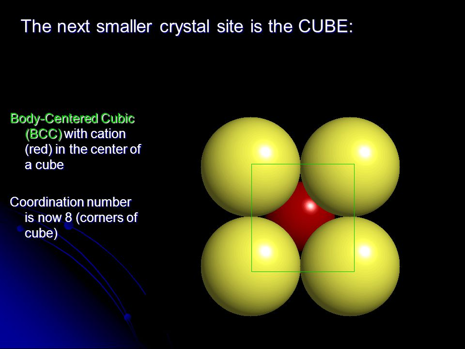 Body-Centered Cubic (BCC) with cation (red) in the center of a cube Coordination number is now 8 (corners of cube) The next smaller crystal site is th