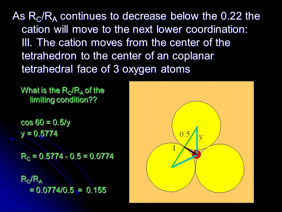 As R C /R A continues to decrease below the 0.22 the cation will move to the next lower coordination: III. The cation moves from the center of the tet