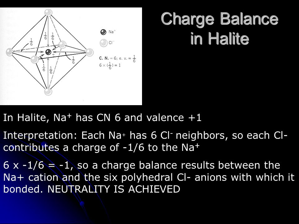 Charge Balance in Halite In Halite, Na + has CN 6 and valence +1 Interpretation: Each Na + has 6 Cl - neighbors, so each Cl- contributes a charge of -1/6 to the Na + 6 x -1/6 = -1, so a charge balance results between the Na+ cation and the six polyhedral Cl- anions with which it bonded.