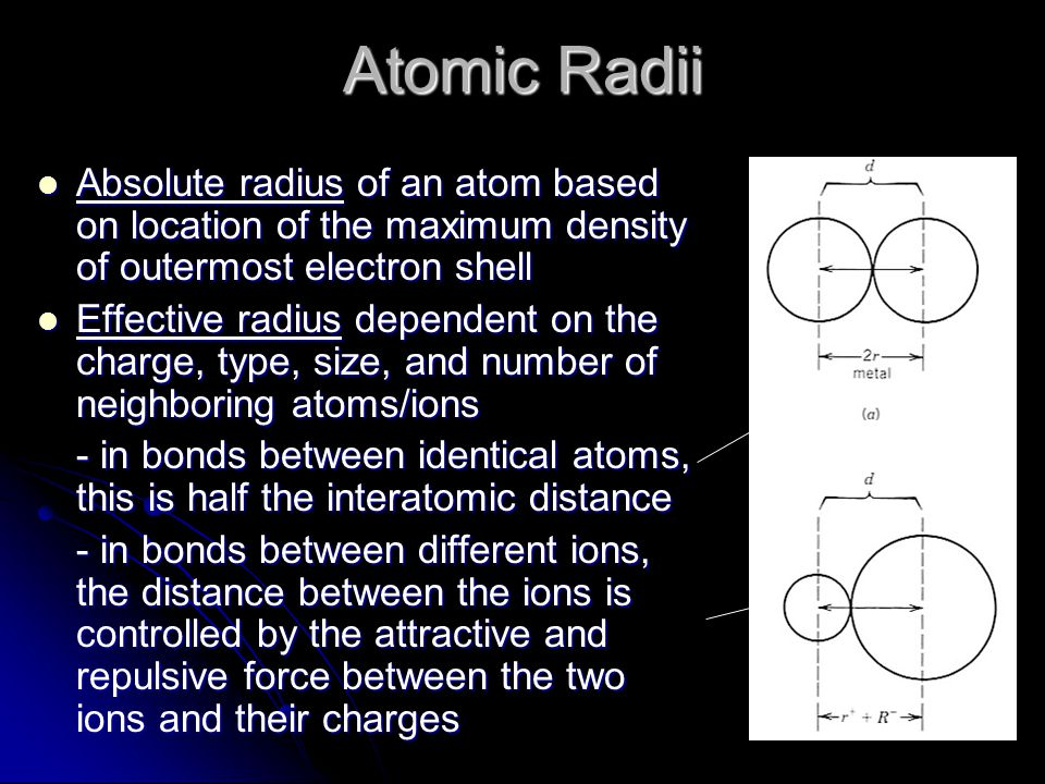Absolute radius of an atom based on location of the maximum density of outermost electron shell Absolute radius of an atom based on location of the maximum density of outermost electron shell Effective radius dependent on the charge, type, size, and number of neighboring atoms/ions Effective radius dependent on the charge, type, size, and number of neighboring atoms/ions - in bonds between identical atoms, this is half the interatomic distance - in bonds between different ions, the distance between the ions is controlled by the attractive and repulsive force between the two ions and their charges Atomic Radii