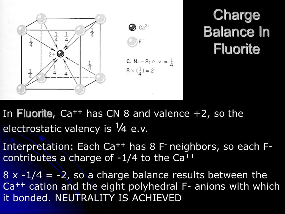 Charge Balance In Fluorite Fluorite In Fluorite, Ca ++ has CN 8 and valence +2, so the electrostatic valency is ¼ e.v.