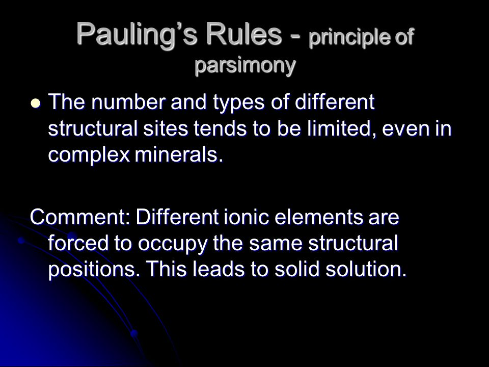 The number and types of different structural sites tends to be limited, even in complex minerals.