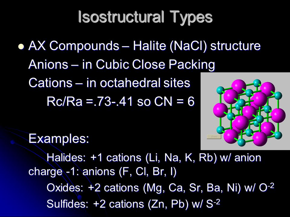 Isostructural Types AX Compounds – Halite (NaCl) structure AX Compounds – Halite (NaCl) structure Anions – in Cubic Close Packing Cations – in octahed