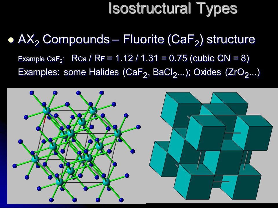 AX 2 Compounds – Fluorite (CaF 2 ) structure AX 2 Compounds – Fluorite (CaF 2 ) structure Example CaF 2 : R Ca / R F = 1.12 / 1.31 = 0.75 (cubic CN =