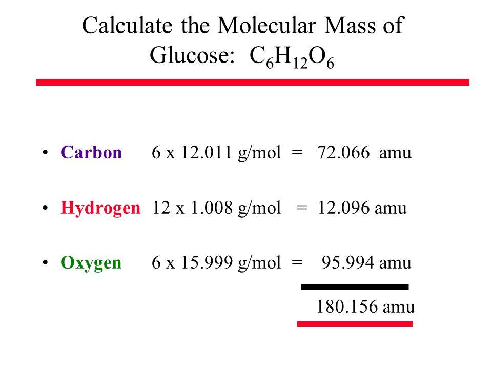Calculate the Molecular Mass of Glucose: C 6 H 12 O 6 Carbon 6 x 12.011 g/mol = 72.066 amu Hydrogen 12 x 1.008 g/mol = 12.096 amu Oxygen 6 x 15.999 g/