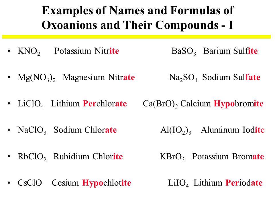 Examples of Names and Formulas of Oxoanions and Their Compounds - I KNO 2 Potassium Nitrite BaSO 3 Barium Sulfite Mg(NO 3 ) 2 Magnesium Nitrate Na 2 S