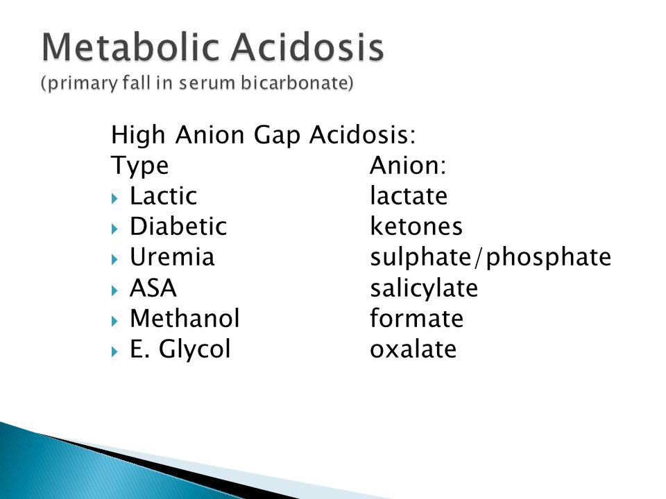 High Anion Gap Acidosis: TypeAnion:  Lactic lactate  Diabeticketones  Uremiasulphate/phosphate  ASAsalicylate  Methanolformate  E.